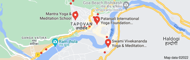 Map of yoga and meditation in rishikesh